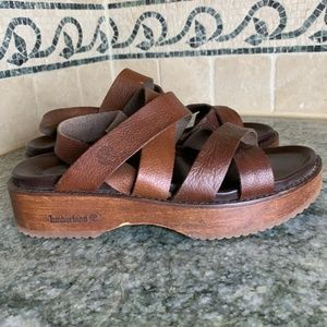 Timberland Wood Platform Leather Strappy Slide on